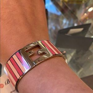Fendi Silver Enamel Cuff with Pink Stripes